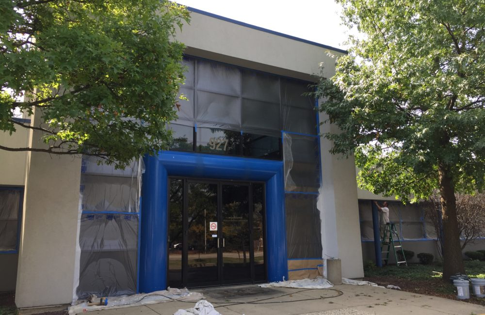 Nichicon- Front Entryway Before Schaumburg Exterior Commercial Painting
